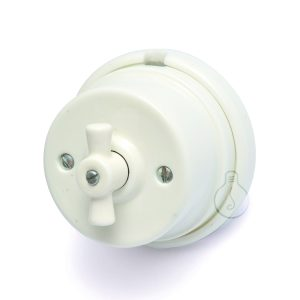 Switchman in white porcelain, accessories kit included
