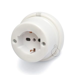 White porcelain schuko socket, accessories kit included