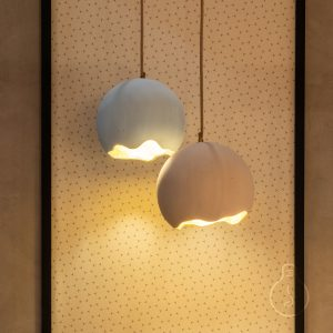 Hanging chandelier, dome egg rockypaper in light pink color, shiny gold ceiling rose, juta round cable