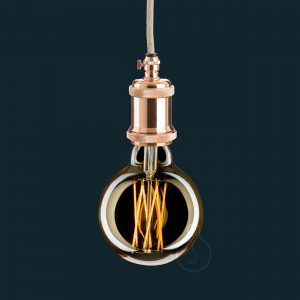 Lamp holder, E27 metal vintage lamp holder in shiny copper color, shiny copper ceiling rose, canvas beige round cable