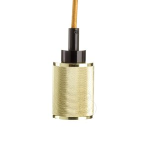 Lamp holder, E27 modern lamp holder in shiny gold color, black ceiling rose, gold round cable