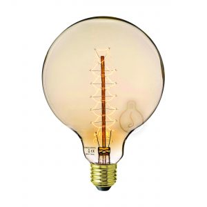 Carbon filament, E27, big globe, amber glass, warm light, energy class E, dimmable