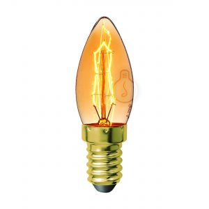 Carbon filament, E14, candle, amber glass, warm light, energy class E, dimmable