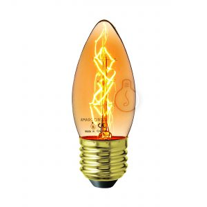Carbon filament, E27, candle, amber glass, warm light, energy class E, dimmable