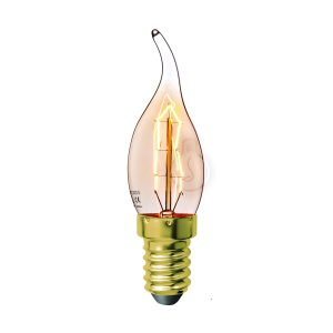 Carbon filament, E14, wind, amber glass, warm light, energy class E, dimmable