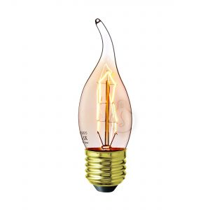 Carbon filament, E27, wind, amber glass, warm light, energy class E, dimmable