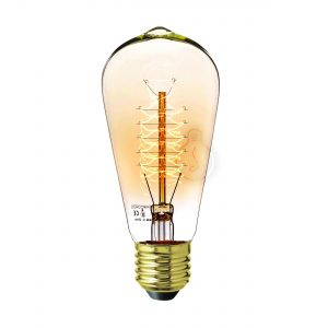 Carbon filament, E27, edison, amber glass, warm light, energy class E, dimmable