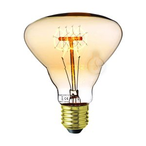 Carbon filament, E27, amber glass, warm light, energy class E, dimmable