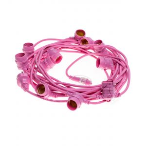 Pink outdoor chain with 10 E27 lamp holders, round cable, schuko plug, length 12.5m
