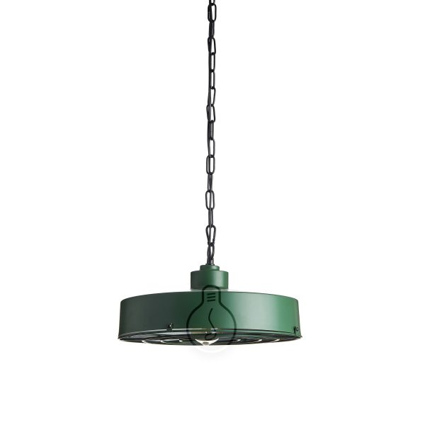2m hanging chandelier, british green metal bell with grill, E27 lamp holder, black pvc cable