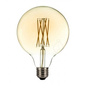 Led bulb, E27, big globe, amber glass, warm light, energy class A+, dimmable