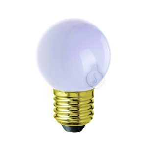 Led bulb, E27, small globe, white plastic, warm light, energy class A++, not dimmable