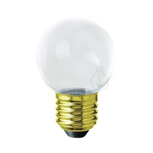 Led bulb, E27, small globe, transparent plastic, warm light, energy class A++, not dimmable