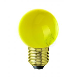Led bulb, E27, small globe, yellow plastic, warm light, energy class A++, not dimmable