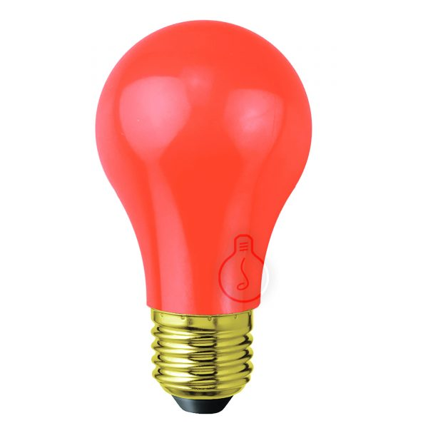 Led bulb, E27, drop, red plastic, warm light, energy class A++, not dimmable