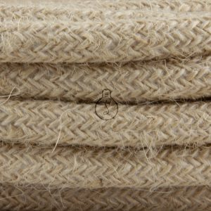 Round electric cable in fabric coating, jute color