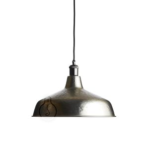 Hanging chandelier, hand hammered metal bell in bronze color with E27 shiny gunmetal lamp holder