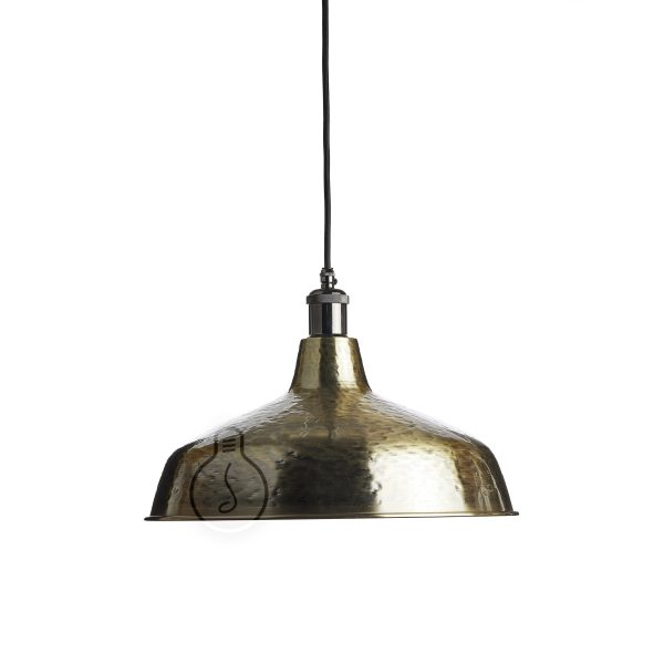 Hanging chandelier, hand hammered metal bell in brass color with E27 shiny gunmetal lamp holder