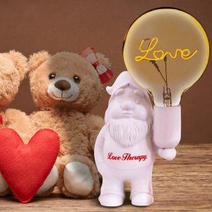 "White Lovely – Ceramic table lamp – Midget Love Therapy – ""Love"" bulb included"